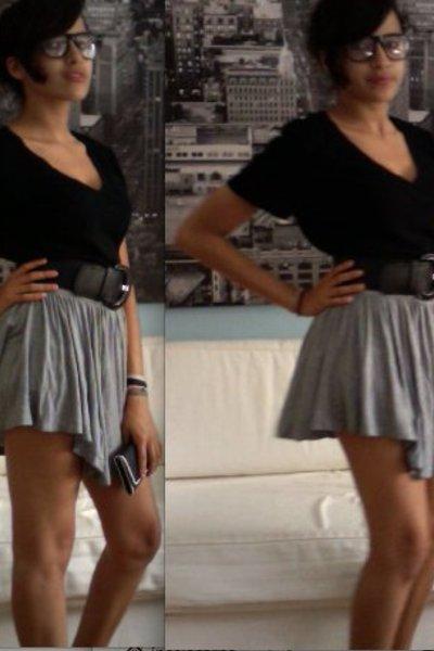 cotton on t-shirt - H&M skirt - H&M belt - street market glasses - Fake Chanel w