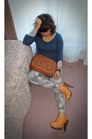 dark gray eunicena accessories - burnt orange Zara bag - blue H&M blouse - musta