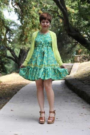 floral print Anna Sui dress - neon Loft cardigan - cork Tahari wedges