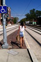 white f21 top - brown Jeffrey Campbell shoes - blue Urban Renewal skirt