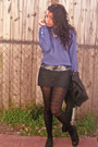Black-tj-maxx-jacket-blue-thrifted-sweater-gray-forever-21-skirt-black-tig