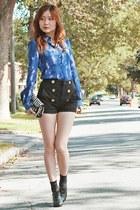 blue galaxy blouse baia blouse - white stripe clutch Henri Bendel bag
