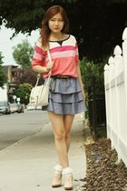 blue Urban Outfitters skirt - light pink lace up oxfords shoes