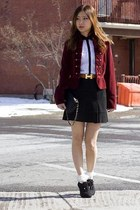 black Jacob skirt - brown Hermes belt - ruby red vintage cardigan