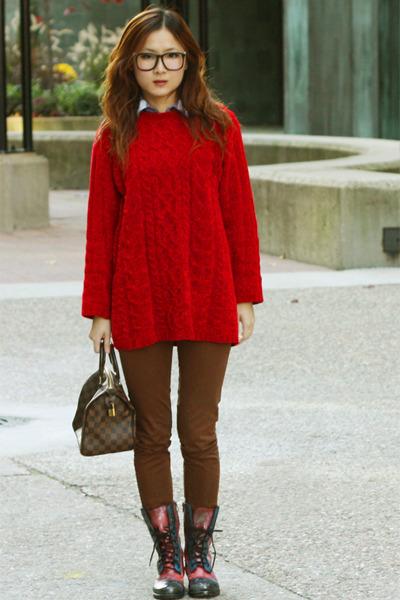 salmon cosmic print DIY shoes - red vintage sweater - brown Zara pants