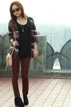 salmon Missoni cardigan - light pink Rebecca Mnkoff bag - dark brown Zara pants