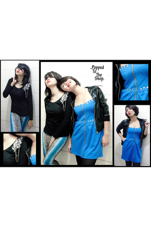 blue popped to the shop dress - black popped to the shop jacket - black popped t