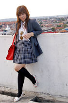 gray blazer - white shirt - gray skirt - black socks - red purse
