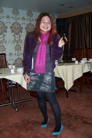 purple Primark jacket - pink market stall scarf - black select top - black Prima