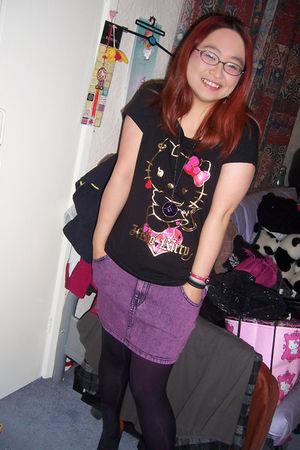 purple H&M skirt - black black tights Primark tights - black H&M t-shirt