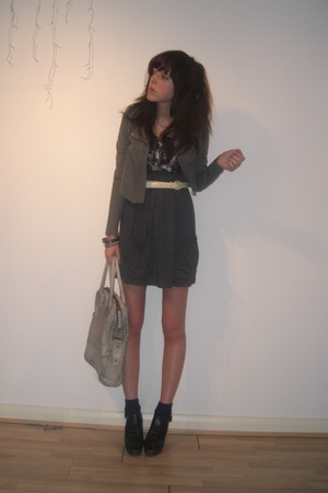 H&M jacket - thrift top - Diesel purse - Hoxton Boutique skirt