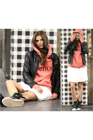 leather jacket Wrangler jacket - Pop Rocky hoodie - skater skirt asos skirt