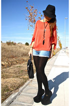 black Jeffrey Campbell heels - adorebag bag - brick red Zara blouse