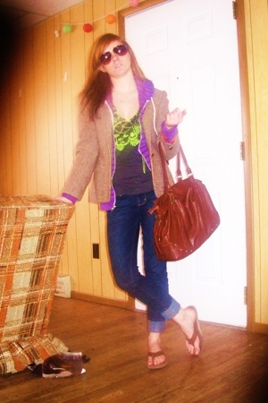 blazer - amerian apparel - t-shirt - rainbow