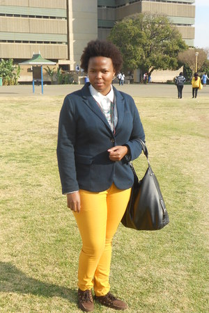 mustard jeans - brown shoes - navy blue blazer - cream Woolworths blouse