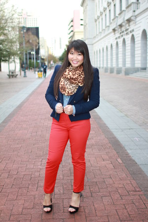 leopard scarf - Zara blazer - chambray J Crew blouse - Charlotte Russe heels