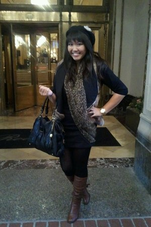 brown leather Steve Madden boots - brown faux fur Urban Outfitters vest