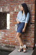 denim Forever 21 shirt - Stella McCartney bag - denim hinge skirt - vince heels