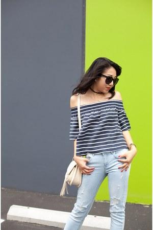 Forever 21 bag - STS Blue jeans - Karen Walker sunglasses - Manolo Blahnik heels