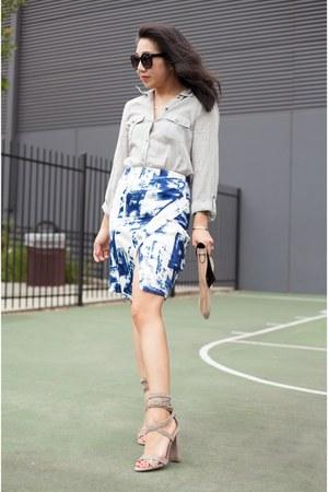 stylestalker skirt - Karen Walker sunglasses - Steve Madden heels - Joie blouse