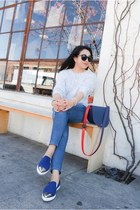 H&M sweater - AG jeans - deux lux bag - Karen Walker sunglasses