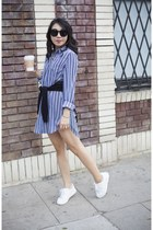 trouve shirt - JCrew sweater - Karen Walker sunglasses - Adidas sneakers