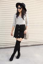 asos skirt - stuart weitzman boots - Aldo hat - Chloe bag