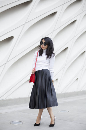 Zara skirt - ALC sweater - Celine bag - Karen Walker sunglasses