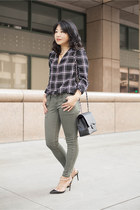 silk blouse trouve blouse - skinny jeans STS Blue jeans - Chanel bag
