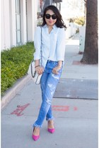 Zara jeans - Stella McCartney bag - Karen Walker sunglasses - sam edelman heels
