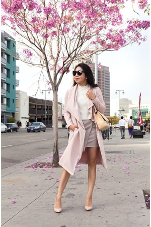 light pink Cupcakes And Cashmere coat - nude Chanel bag