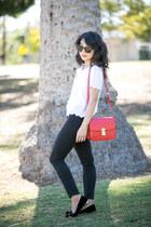 Celine bag - J Brand jeans - Topshop shirt - Karen Walker sunglasses