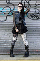 mesh worn under American Apparel dress - rock Sella boots