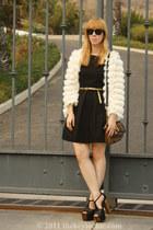 fringe-faux fur Nasty Gal cardigan - fit  flare Zara dress
