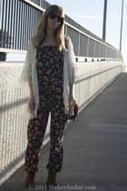 floral Zara romper - qualheim Aldo boots - fringe lace Lush cardigan