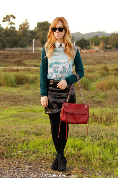 xhilaration skirt - H&M sweater - Rebecca Minkoff bag - Aldo wedges