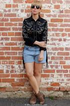 DIY shorts shorts - sam edelman boots - Roper blouse