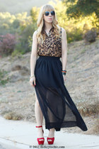 red Glaze heels - maxi sheer Sheinside skirt - leopard print MINE blouse