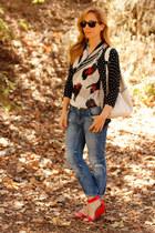 cat print Jason Wu for Target scarf - boyfriend Zara jeans - hobo merona bag