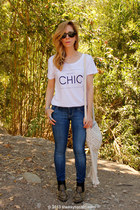 H&M t-shirt - studded Dolce Vita boots - skinny Old Navy jeans