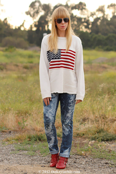 flag print thrifted vintage sweater - studded Jeffrey Campbell boots