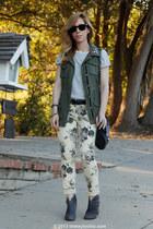 floral Forever 21 jeans - suede Steve Madden boots - military decree vest