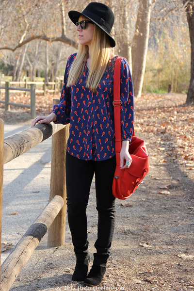 bird print Old Navy blouse - jamison Dolce Vita boots - satchel Upla bag
