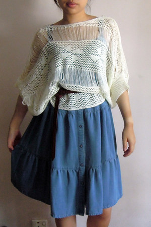 sky blue denim dress - brown Zara belt - white crocheted top