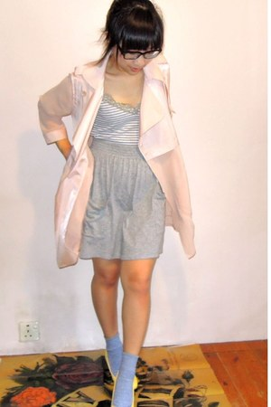 light pink chiffon Marc by Marc Jacobs blazer - periwinkle polka dot Muji socks