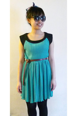 turquoise blue dress - black tights - light purple headband scarf - black hm sun