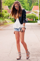 black faux leather H&M jacket - periwinkle cutoff denim Levis DIY shorts