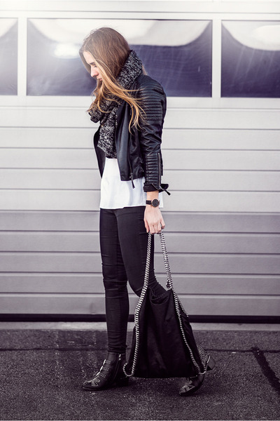 black studded Choies boots - black black skinny acne jeans