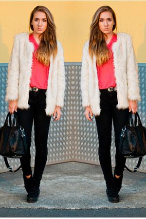 faux fur Choies coat - homg stud Jeffrey Campbell shoes - black denim acne jeans