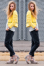 yellow zipper Sheinside jacket - diy ripped 501 Levis jeans